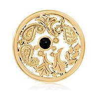 Nikki Lissoni Gold tone 1 1 4 Inch Black Gold Paisley Coin