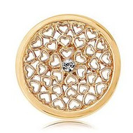 Nikki Lissoni Gold tone 1 Inch Clear Swarovski Hearts all over Coin