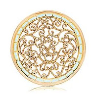 Nikki Lissoni Gold tone 1 3 4 Inch Turquoise Fantasy Curls Enamel Coin