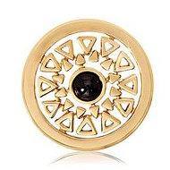 Nikki Lissoni Gold tone 1 Inch Black Onyx Inner Beauty Coin