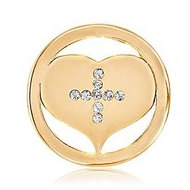 Nikki Lissoni Gold tone 1 Inch Swarovski Elements Cross my Heart Coin