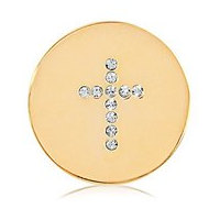 Nikki Lissoni Gold tone 1 Inch Swarovski Elements Sparkling Cross Coin