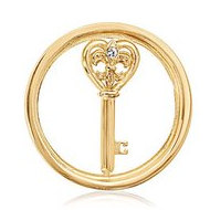 Nikki Lissoni Gold tone 1 Inch Clear Swarovski Element Heart Key Coin