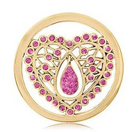 Nikki Lissoni Gold tone 1 1 4 Inch Pink Swarovski Indian Heart Coin