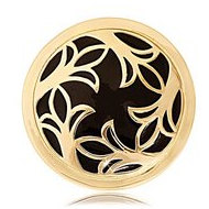 Nikki Lissoni Gold tone 1 1 4 Inch  Enamel Midnight Confession Coin