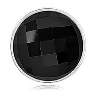 Nikki Lissoni Silver tone 1 1 4 Inch Faceted Black Agate Coin