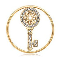 Nikki Lissoni Gold tone 1 1 4 Inch Swarovski Key to my Heart Coin