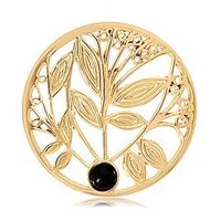 Nikki Lissoni Gold tone 1 1 4 Inch Black Onyx Tree Coin