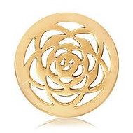 Nikki Lissoni Gold tone 1 Inch Rose Coin
