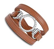 Nikki Lissoni Brown Leather w  1 Inch Silver Coin Holder Wrap Bracelet