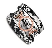 Nikki Lissoni Snake Pattern Leather with 1 Inch Rose Coin Holder Wrap