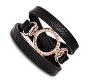 Nikki Lissoni Black Leather w  1inch Rose Coin Holder Wrap Bracelet