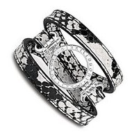 Nikki Lissoni Snake Pattern Leather with 1 Inch Silver Coin Holder Wrap