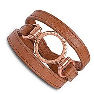 Nikki Lissoni Brown Leather w  1 Inch Rose Coin Holder Wrap Bracelet