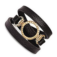 Nikki Lissoni Black Leather w  1inch Yellow Coin Holder Wrap Bracelet