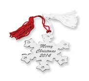 Nickel plated Red and White Tassel Snowflake Ornament