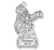Sterling Silver Christmas Santa Ornament