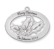 Sterling Silver Christmas Holly Ornament