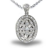 Sterling Silver Oval   CZ Locket
