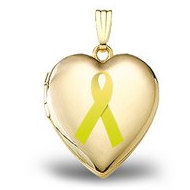 14K Yellow Gold  Childhood Cancer Awareness  Heart Locket