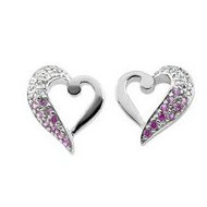 Sterling Silver Breast Cancer Awareness  Because  Earrings