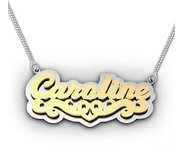 Script Style Heart  Double  Two Tone Name Necklace