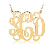14K Yellow Gold Outlined Vine Script 3 Letter Monogram Cut Out Pendant w  Box Chain