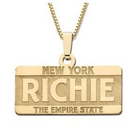 14K Yellow Gold Block Style Horizontal  License Plate  Name Necklace Exclusive with Box Chain