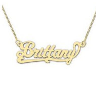 14K Yellow Gold  Script  Style Horizontal Name Necklace with Box Chain