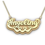 14K Yellow Gold Script Style Heart  Double  Name Necklace with Box Chain