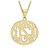14K Yellow Gold Round Vine Script 3 Letter Monogram Cut Out Pendant w  Box Chain