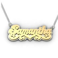 "14K Yellow & White Gold Script Style Heart ""Double"" Name Necklace with Box Chain"