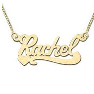 14K Yellow Gold  Heart Script  Style Horizontal Name Necklace with Box Chain