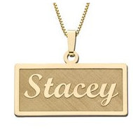 14K Yellow Script Style Horizontal Rectangle Name Necklace Exclusive with Box Chain