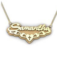 14K Yellow Gold Script Style Cross  Double  Name Necklace with Box Chain