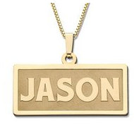 14K Yellow Block Style Horizontal Rectangle Name Necklace Exclusive with Box Chain