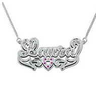 14K White Gold  Script  Diamonds   Rubies Name Necklace with Box Chain