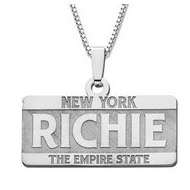 14K White Gold Block Style Horizontal  License Plate  Name Necklace Exclusive with Box Chain