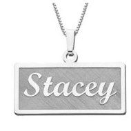 14K White Gold Script Style Rectangle Horizontal Name Necklace Exclusive with Box Chain