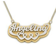 14K Yellow   White Gold Script Style Heart  Double  Name Necklace with Box Chain