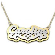 "Script Style Heart ""Double"" Two Tone Name Necklace"