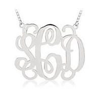 14K White Gold Outlined Vine Script 3 Letter Monogram Cut Out Pendant w  Box Chain