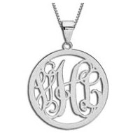 14K White Gold Round Vine Script 3 Letter Monogram Cut Out Pendant w  Box Chain