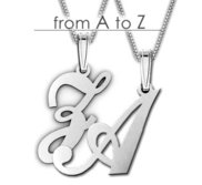 Sterling Silver Script Outlined Initial Pendant A Z with Box Chain