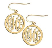 14K Yellow Gold Round Cut Out Monogram Vine Script Kidney Wire Earrings