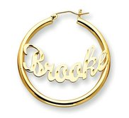 14K Yellow Gold Polished   Diamond Cut Curved Script Name Half Dollar Size Hoop Earrings