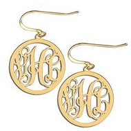 14K Yellow Gold Round Cut-Out Monogram Vine Script Kidney Wire Earrings