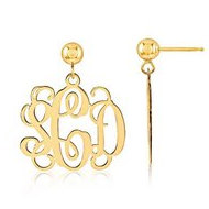 14K Yellow Gold Outlined Monogram Vine Script Post Dangle Earrings
