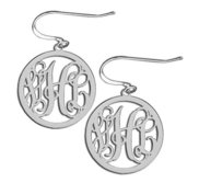 14K White Gold Round Cut Out Monogram Vine Script Kidney Wire Earrings