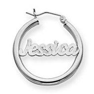 14K White Gold Polished   Diamond Cut Name Script Quarter Sized Hoop Earrings